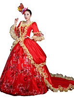 Victorian Rococo Female Adults' Party Costume Masquerade Red Cosplay Lace Satin Chiffon Long Sleeves Court Train