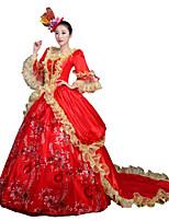 Victorien Rococo Féminin Adulte Costume de Soirée Bal Masqué Rouge Cosplay Dentelle Mousseline de Soie Satin Manches Longues Traîne