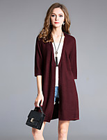 8CFAMILY Women's Going out Casual/Daily Simple Street chic Regular Cardigan,Solid Boat Neck 3/4 Length Sleeves Wool Fall Medium Stretchy