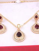mode simple de femmes cubique zircone strass boucles d'oreilles collier pour les cadeaux de mariage de fête de mariage