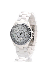 Women's Quartz Water Resistant / Water Proof Large Dial Ceramic Band White
