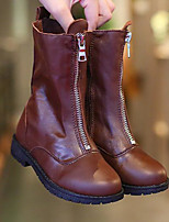 Girls' Shoes Cowhide Fall Winter Comfort Fashion Boots Boots Mid-Calf Boots For Casual Brown Black
