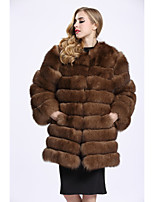 Women's Daily Sophisticated Winter Fall Fur Coat,Solid Round Neck Long Fox Fur