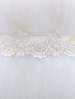 Women's Imitation Pearl Skinny Belt,Irregular Style Jacquard Chiffon Lace