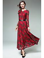 Для женщин Для вечеринок На каждый день Простое Уличный стиль Оболочка Кружева С летящей юбкой Платье Жаккард,V-образный вырез Макси