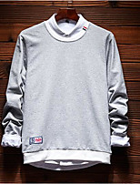 Men's Holiday Sweatshirt Solid Round Neck Micro-elastic Others Long Sleeve Spring Fall