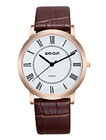 Men's Women's Fashion Watch Quartz Water Resistant / Water Proof Leather Band Casual Black Brown
