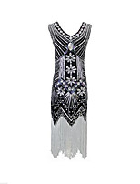 Latin Dance Dresses Women's Performance Polyester Tassel(s) Paillette 1 Piece Sleeveless Natural Dress