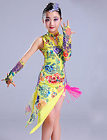 Shall We Latin Dance Outfits Children's Performance Spandex Pattern/Print Sleeveless High Dresses Sleeve Headpieces Shorts