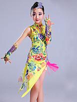 Danse latine Tenue Enfant Spectacle Spandex Sans manche Taille haute Robes Manche Coiffures Short
