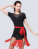 Shall We Latin Dance Outfits Women's Performance Milk Fiber Tassel(s) Short Sleeve High Dress Waist Accessory