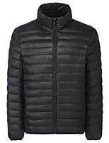 Men's Regular Down Coat,Street chic Going out Casual/Daily Solid-Cotton Polypropylene Long Sleeves