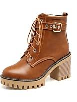 Femme Chaussures Similicuir Printemps Hiver Bottes à la Mode Bottes Gros Talon Bout rond Bottine/Demi Botte Lacet Pour Décontracté Noir