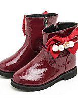 Girls' Shoes Patent Leather Fall Winter Fluff Lining Fashion Boots Bootie Boots Booties/Ankle Boots Bowknot For Wedding Dress Red Gray