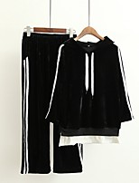 Women's Going out Casual/Daily Simple Cute Active Spring Fall Hoodie Pant Suits,Solid Striped Hooded Long Sleeve Micro-elastic