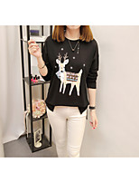 Women's Daily Work Cute Casual Sophisticated Winter Fall T-shirt,Solid Animal Print Round Neck Long Sleeves Cotton Rayon Polyester Medium