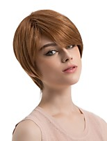 Women Human Hair Capless Wigs Medium Auburn/Bleach Blonde Medium Auburn Black Short Straight Side Part Hot Sale