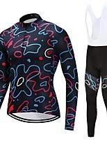 Cycling Jersey with Bib Tights Unisex Long Sleeves Bike Clothing Suits Quick Dry Graphic Autumn/Fall Spring Cycling/Bike White Black