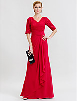 Sheath / Column V-neck Floor Length Chiffon Lace Mother of the Bride Dress with Criss Cross by LAN TING BRIDE®