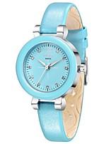 Mulheres Relógio de Moda Quartzo Couro Banda Branco Azul Rosa Amarelo