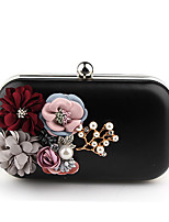 Women Bags All Seasons PU Evening Bag with Flower(s) Pearl Detailing for Wedding Event/Party Blushing Pink Black White