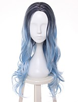 Women Synthetic Wig Capless Short Wavy Blue Highlighted/Balayage Hair Dark Roots Middle Part Layered Haircut Cosplay Wig Costume Wig