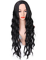 Women Synthetic Wig Capless Long Loose Wave Black Middle Part Natural Wigs Costume Wig