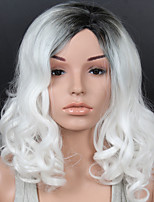Women Synthetic Wig Lace Front Short Medium Length White Side Part Ombre Hair Dark Roots Natural Hairline Lolita Wig Drag Wig Party Wig