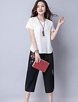 T-shirt Pantalone Completi abbigliamento Da donna Per uscire Casual Moda città Estate,Ricamato Rotonda Manica corta