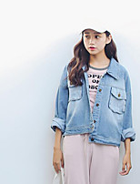 Women's Casual/Daily Simple Fall Denim JacketSolid Shirt Collar Long Sleeve Regular Cotton
