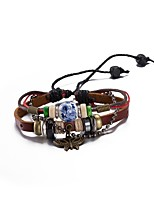 Men's Women's Leather Bracelet Wrap Bracelet Vintage Punk Leather Silver Plated Jewelry For Gift Casual
