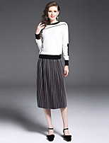 YIYEXINXIANG Women's Going out Casual/Daily Simple Fall T-shirt Skirt Suits,Solid Round Neck Long Sleeve Micro-elastic