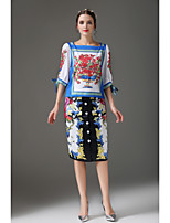 Women's Casual/Daily Sophisticated Spring Summer Fall T-shirt Skirt Suits,Floral Color Block Boat Neck ¾ Sleeve
