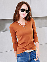 Women's Daily Going out Winter Fall T-shirt,Solid V Neck Long Sleeves Cotton