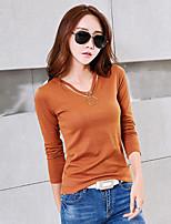 Tee-shirt Femme,Couleur Pleine Décontracté / Quotidien Sortie Automne Hiver Manches Longues Col en V Coton