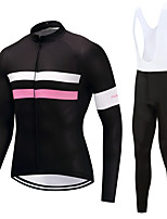 FUALRNY® Cycling Jersey with Bib Tights Men's Long Sleeves Bike Clothing Suits High Elasticity Fleece Winter Cycling/Bike Black