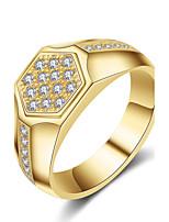 Муж. Классические кольца Цирконий Цирконий Титановая сталь Круглый Бижутерия Назначение Свадьба Для вечеринок