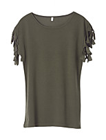 Women's Going out Cute Sexy T-shirt,Solid Round Neck Short Sleeves Polyester