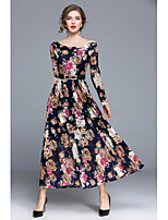 SHE IN SUN Women's Party Casual/Daily Simple Street chic Swing DressFloral Round Neck Maxi Long Sleeves Polyester All Seasons Fall Mid Rise