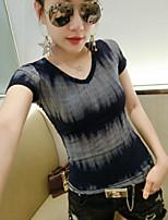 Tee-shirt Femme,Couleur Pleine Sortie simple Manches Courtes Col en V Coton