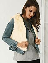 Для женщин На каждый день Офис Весна Осень Пальто с мехом V-образный вырез,Простой Активный Уличный стиль Однотонный Короткая Без рукавов,
