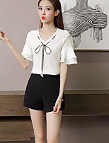 Women's Going out Cute Blouse,Solid V Neck Short Sleeves Cotton