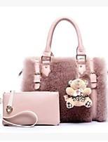 Women Bags All Seasons Fur Bag Set 2 Pieces Purse Set Zipper for Casual White Black Blushing Pink