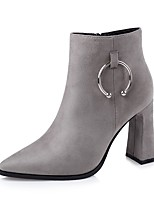 Women's Shoes Leatherette Fall Winter Comfort Boots Chunky Heel Pointed Toe For Dress Almond Gray Black