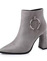 Для женщин Обувь Дерматин Осень Зима Удобная обувь Ботинки На толстом каблуке Заостренный носок Назначение Для праздника Черный Серый