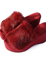 Women's Shoes Cashmere Fall Comfort Slippers & Flip-Flops Creepers Open Toe For Casual Almond Red Gray Black