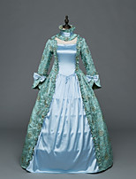 Victorian Rococo Female Adults' Party Costume Masquerade Blue Cosplay Stretch Satin Satin Long Sleeves Floor Length