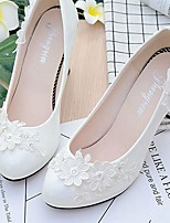 Women's Shoes Lace Leatherette Spring Fall Comfort Wedding Shoes Round Toe Rhinestone Applique Imitation Pearl Sparkling Glitter Flower