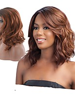 Women Synthetic Wig Capless Medium Length Wavy Deep Wave Brown Natural Wigs Costume Wig