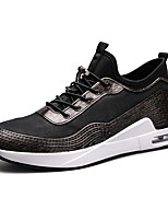 Men's Shoes Leatherette Spring Fall Comfort Sneakers Split Joint For Casual Black/Silver Black/Gold